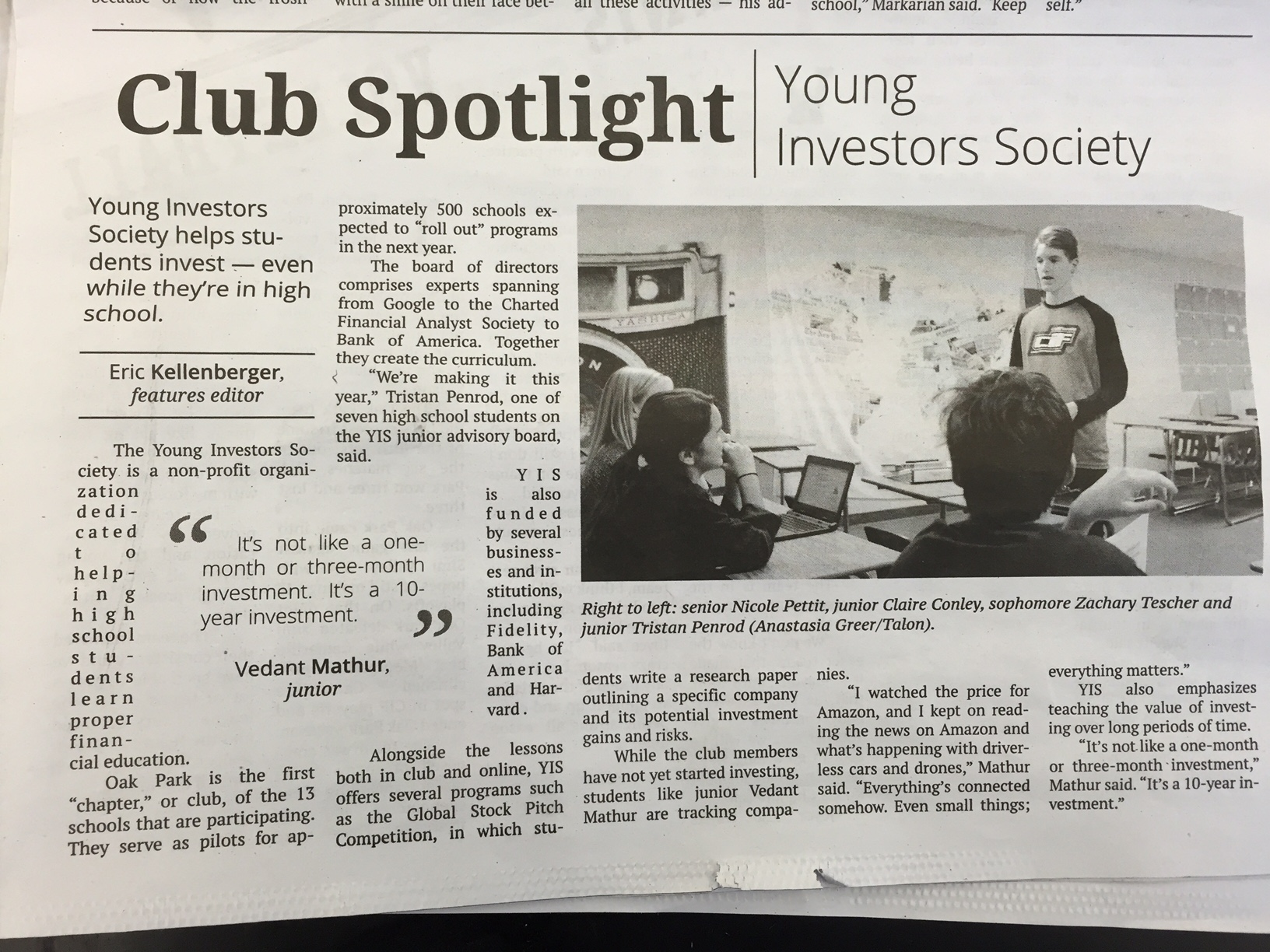 YIS Oak Park is Featured in the School Paper