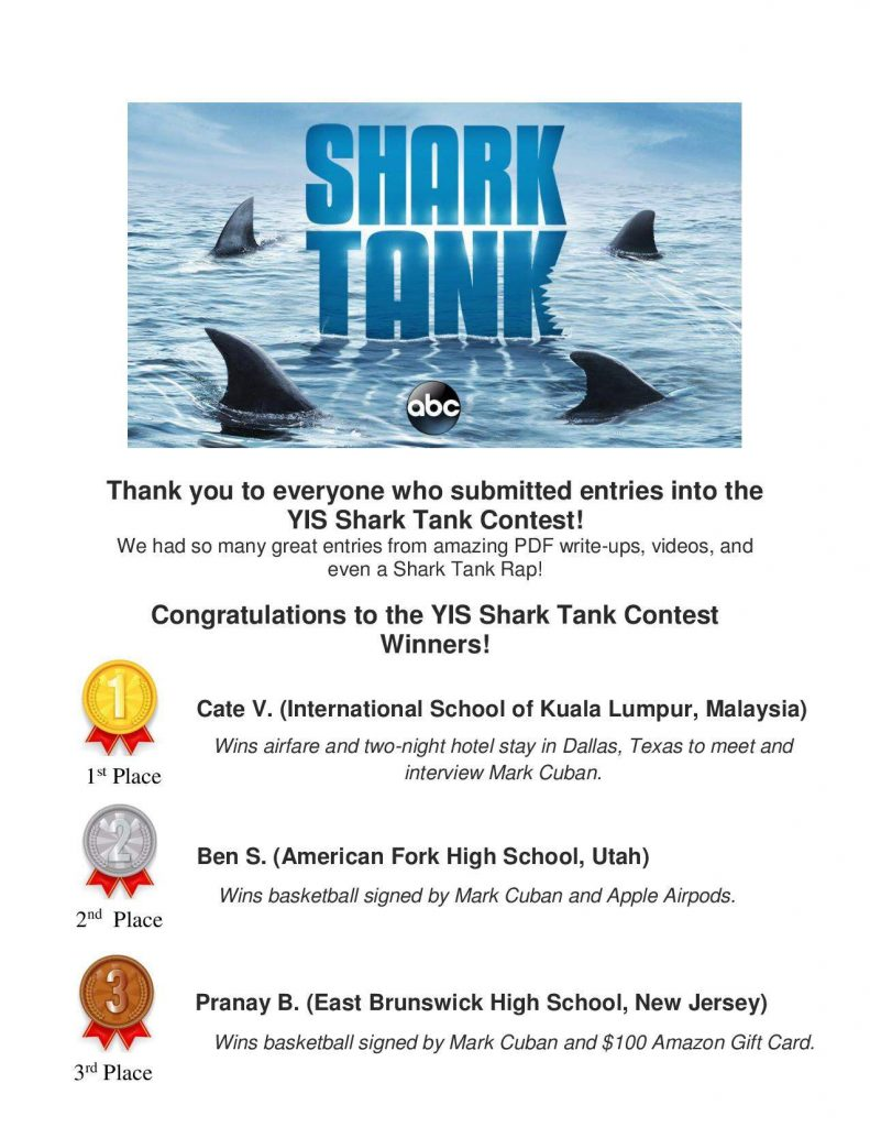 Congratulations to the YIS Shark Tank WINNERS!
