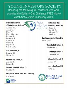 Congratulations to our Dollar-A-Day Free Money Match Scholarship recipients!