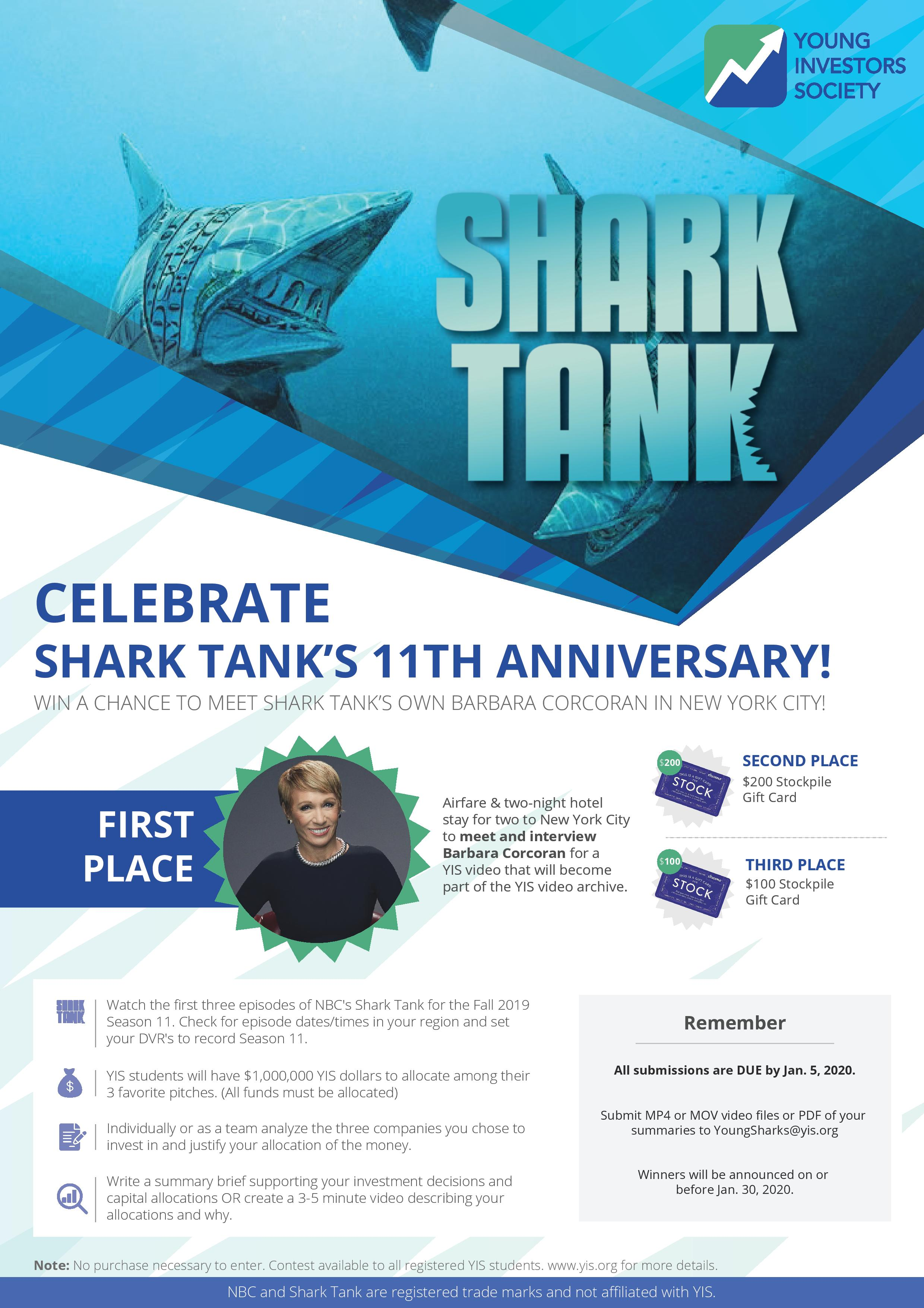 YIS Shark Tank Contest: All Submissions DUE by Jan. 25th!